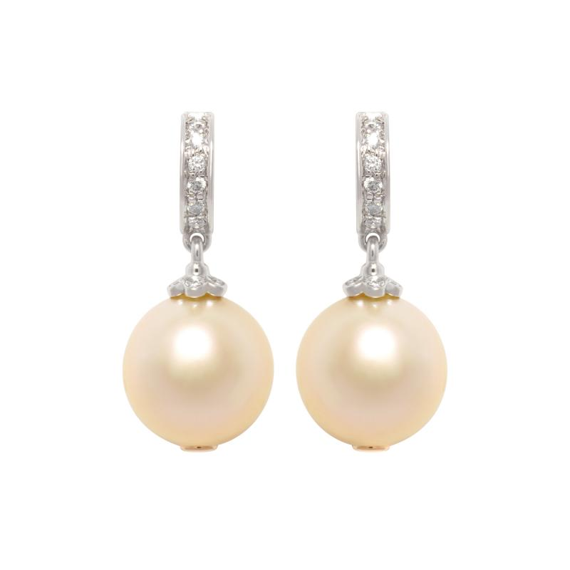 Ella Gafter Ella Gafter Golden South Sea Pearl and Diamond Drop Earrings