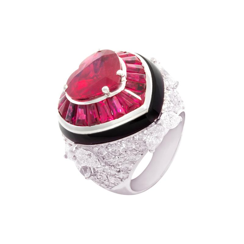 Ella Gafter Ella Gafter Heart Shape Ruby and Diamond Ring with Onyx