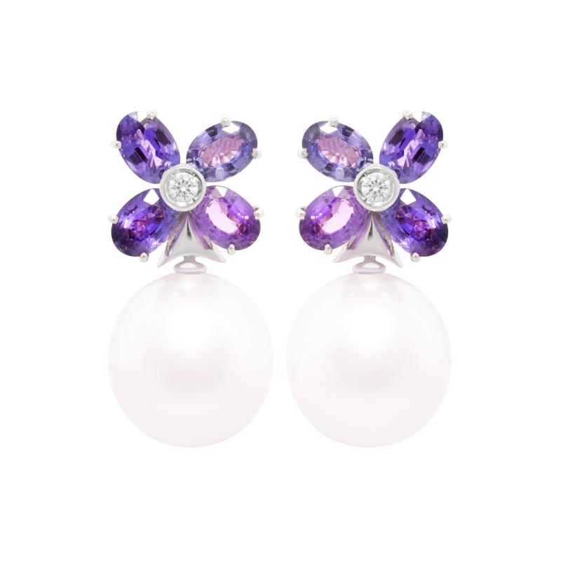 Ella Gafter Ella Gafter Lavender Sapphire South Sea Pearl Clip on Flower Earrings