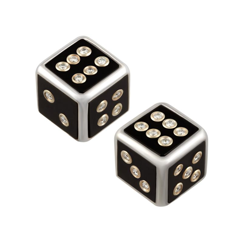 Ella Gafter Ella Gafter Onyx and Diamond Dice Cufflinks