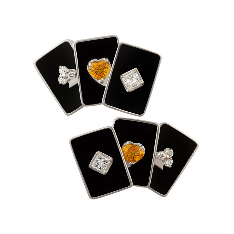 Ella Gafter Ella Gafter Onyx and Diamond Playing Card Cufflinks