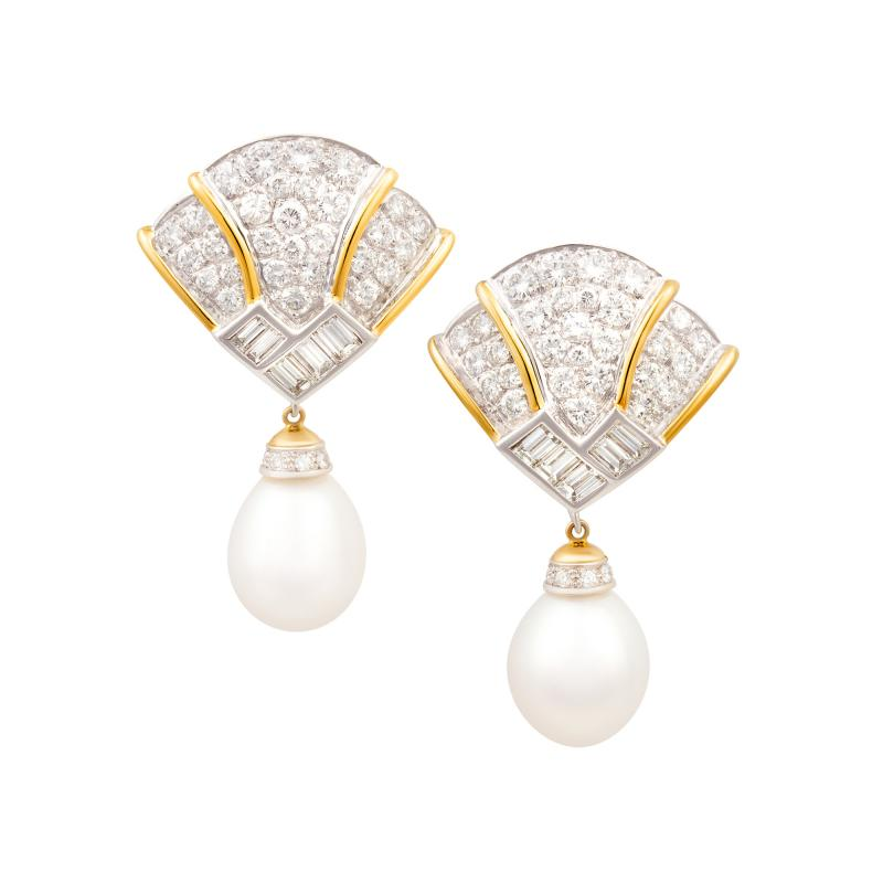 Ella Gafter Ella Gafter Pink Sapphire Earrings with South Sea Pearl Onyx and Diamonds