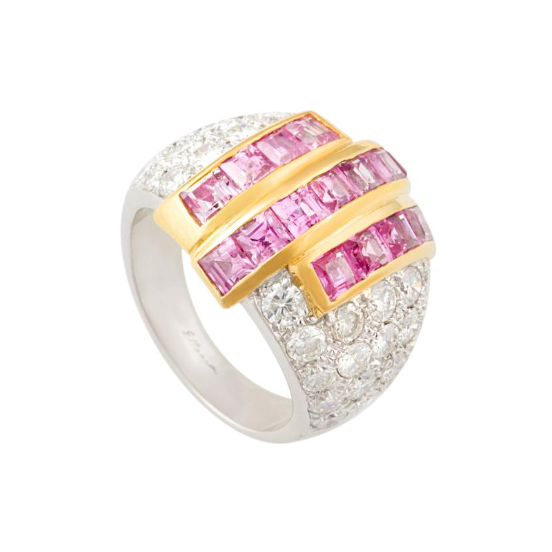 Ella Gafter Ella Gafter Pink Sapphire and Diamond Cocktail Ring