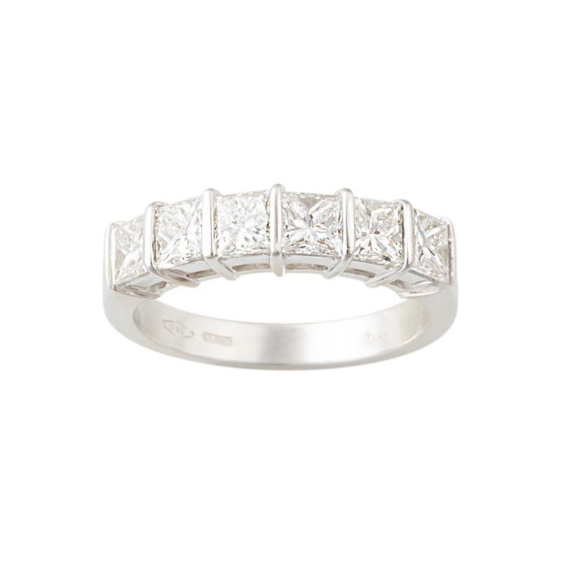 Ella Gafter Ella Gafter Princess Cut Diamond White Gold Band Ring