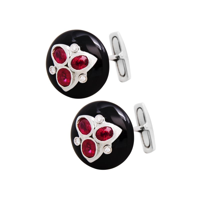 Ella Gafter Ella Gafter Ruby and Diamond Cufflinks Onyx White Gold