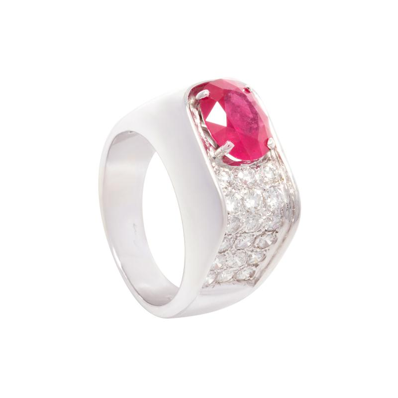 Ella Gafter Ella Gafter Ruby and Diamond Unisex Ring