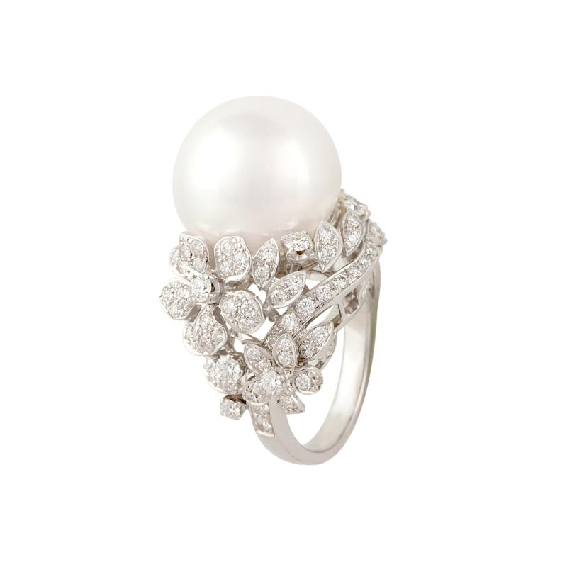 Ella Gafter Ella Gafter South Sea Pearl Diamond Cocktail Ring