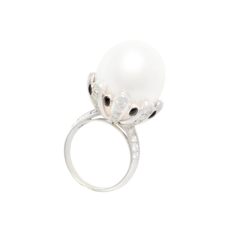 Ella Gafter Ella Gafter South Sea Pearl Diamond Onyx Cocktail Ring