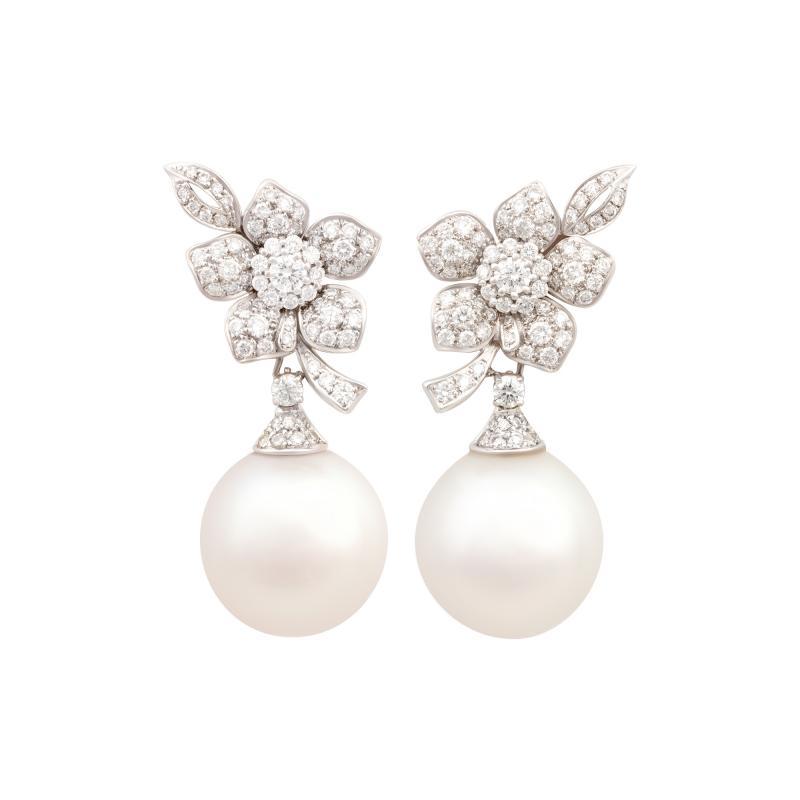 Ella Gafter Ella Gafter South Sea Pearl Diamond White Gold Flower Earrings