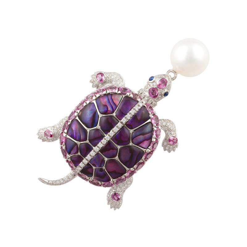 Ella Gafter Ella Gafter South Sea Pearl Pink Sapphire and Diamond Turtle Brooch Pin