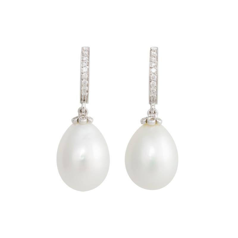 Ella Gafter Ella Gafter South Sea Pearl and Diamond Drop Earrings