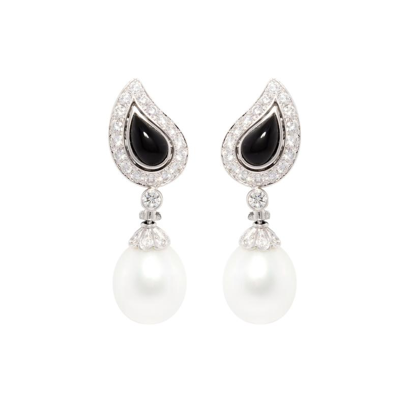 Ella Gafter Ella Gafter South Sea Pearl and Diamond Drop Earrings White Gold Onyx