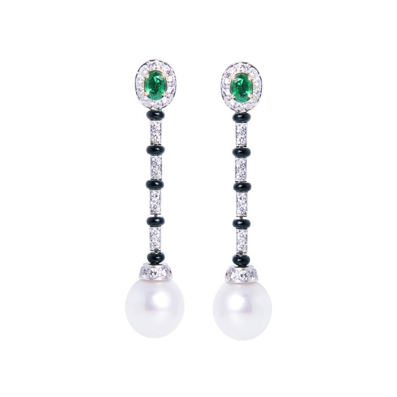 Ella Gafter Ella Gafter South Sea Pearl and Diamond Emerald Drop Earrings with Onyx