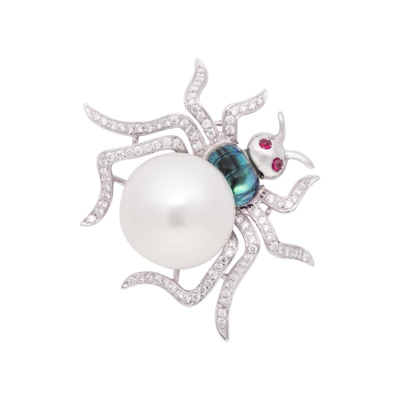 Ella Gafter Ella Gafter South Sea Pearl and Diamond Spider Brooch Pin