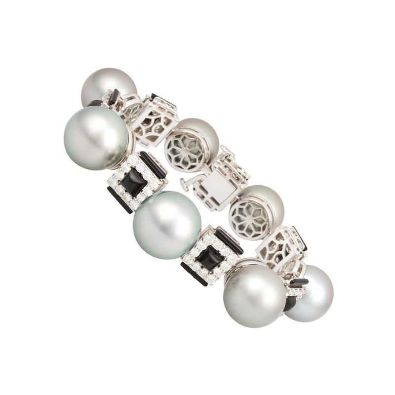 Ella Gafter Ella Gafter Tahitian Pearl and Diamond Bracelet Onyx
