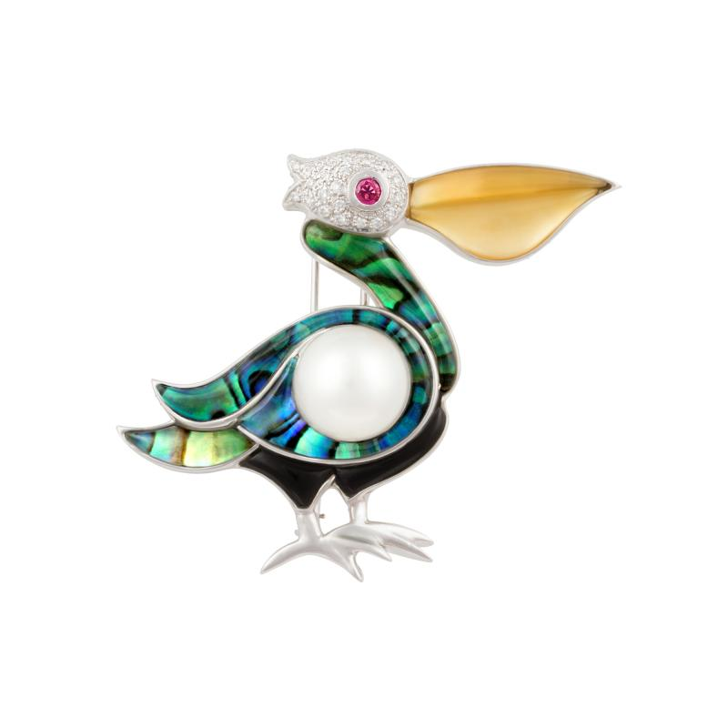 Ella Gafter Ella Gafter White Pearl and Diamond Pelican Brooch Pin