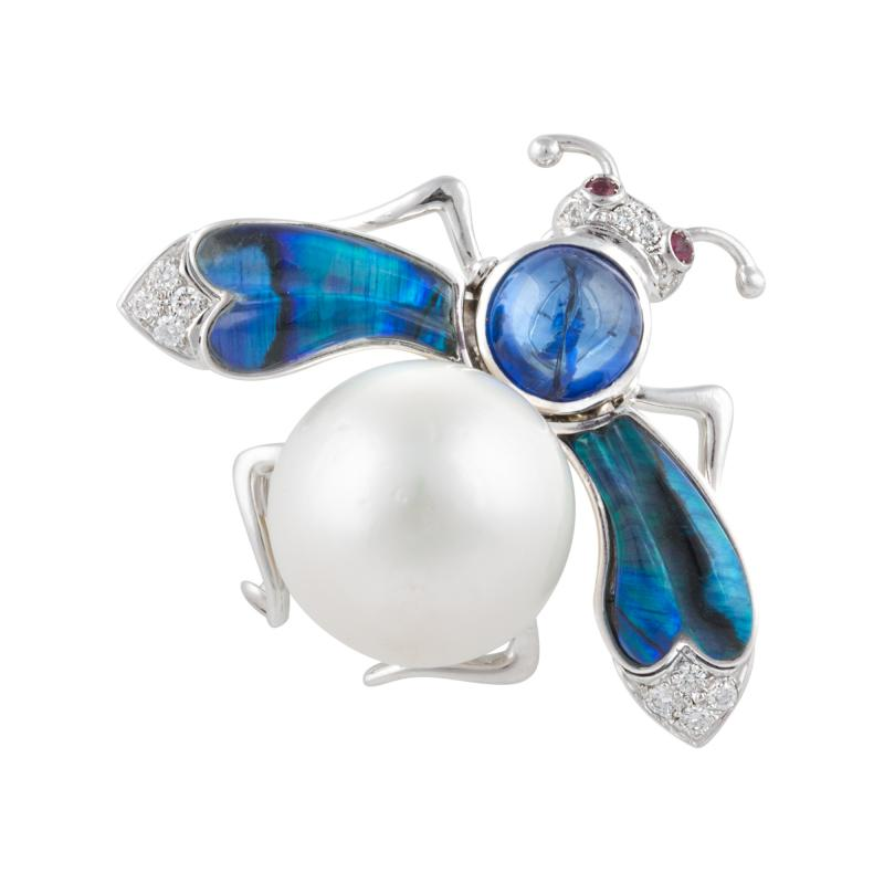 Ella Gafter Ella Gafter White South Sea Pearl Diamond Bee Brooch Pin with Blue Sapphire