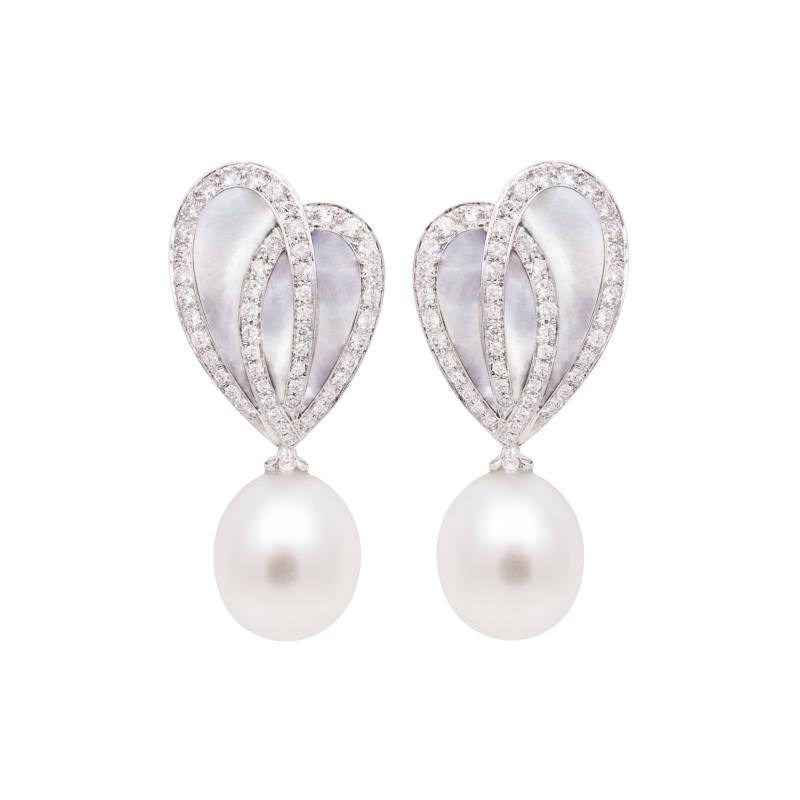 Ella Gafter Ella Gafter White South Sea Pearl Diamond Drop Earrings