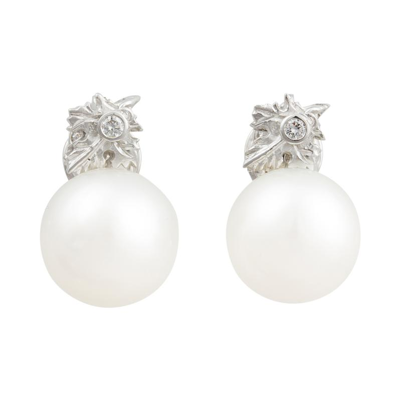 Ella Gafter Ella Gafter White South Sea Pearl and Diamond Clip On Earrings Flower Design