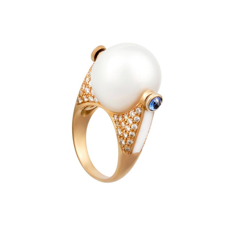 Ella Gafter Ella Gafter White South Sea Pearl and Diamond Ring Rose Gold