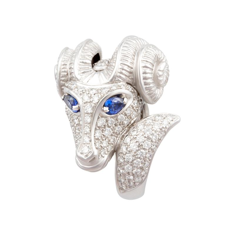 Ella Gafter Ella Gafter Zodiac Aries Ring with Diamonds and Sapphire