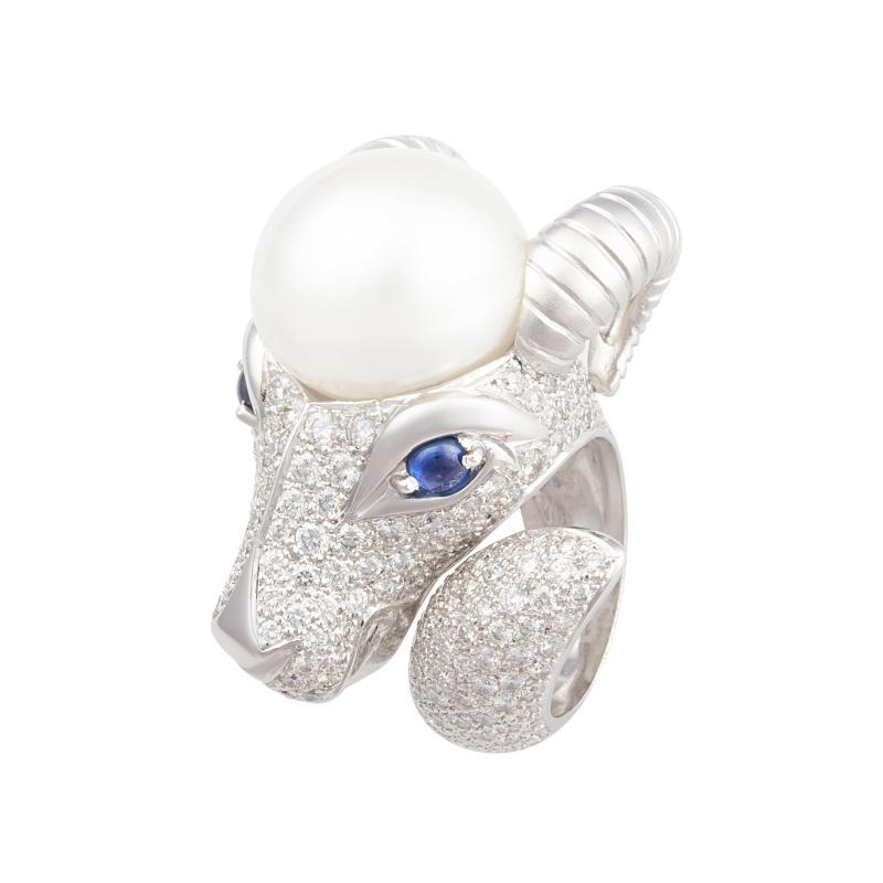 Ella Gafter Ella Gafter Zodiac Capricorn Ring with Diamonds and Pearl