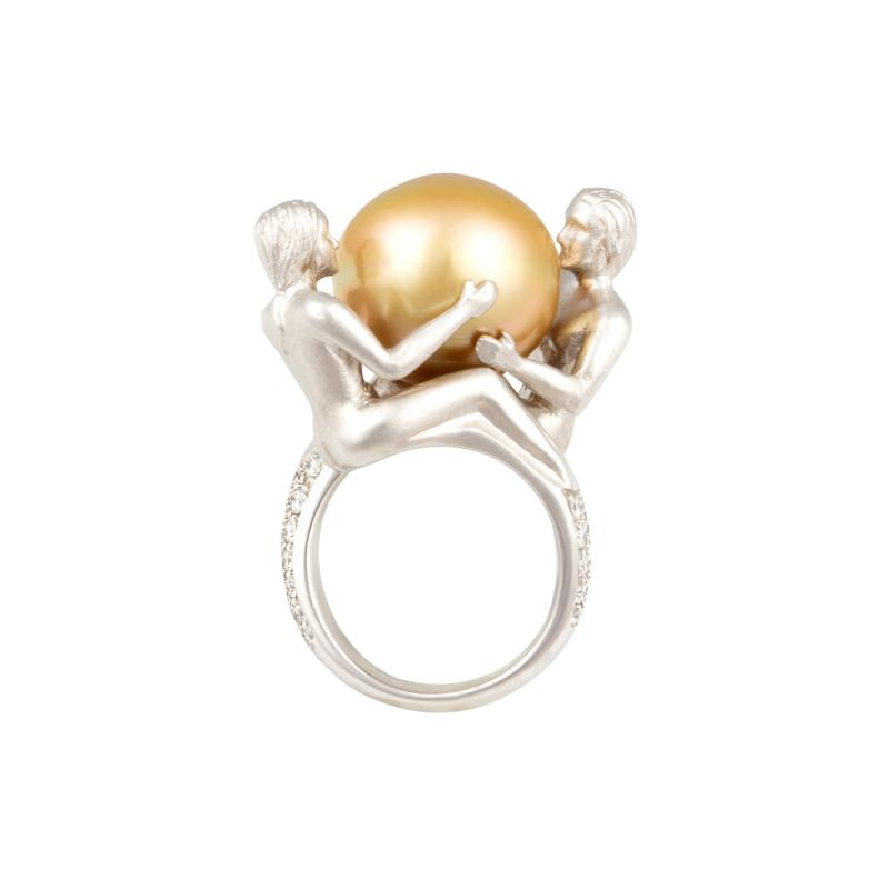 Ella Gafter Ella Gafter Zodiac Gemini Ring with Golden Pearl and Diamonds