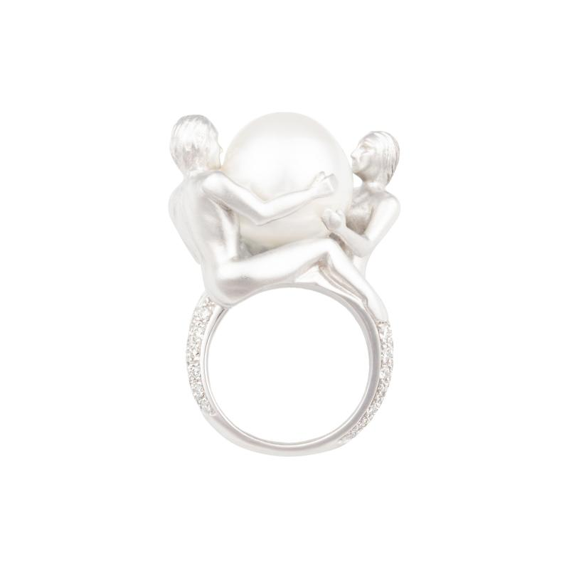 Ella Gafter Ella Gafter Zodiac Gemini Ring with South Sea Pearl and Diamonds
