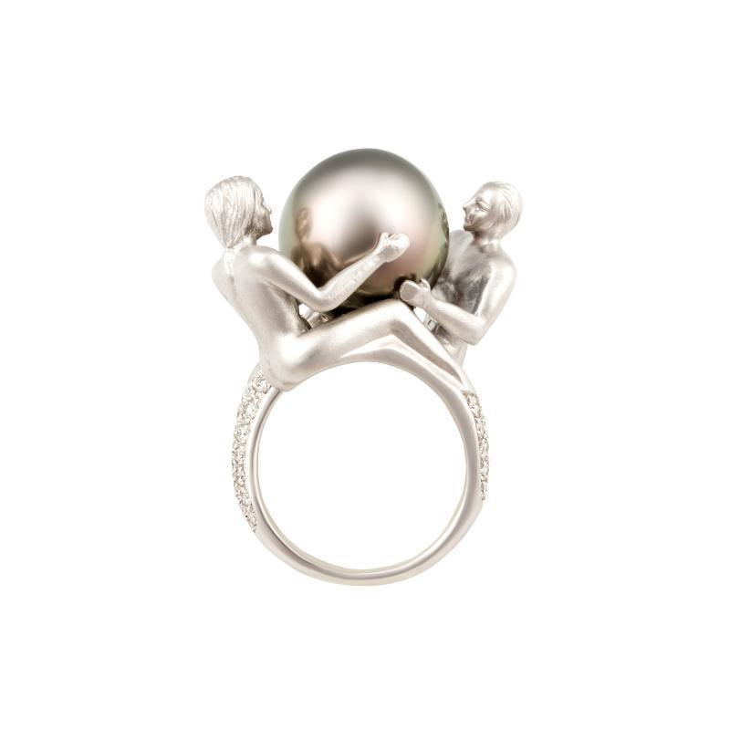 Ella Gafter Ella Gafter Zodiac Gemini Ring with Tahitian Pearl and Diamonds