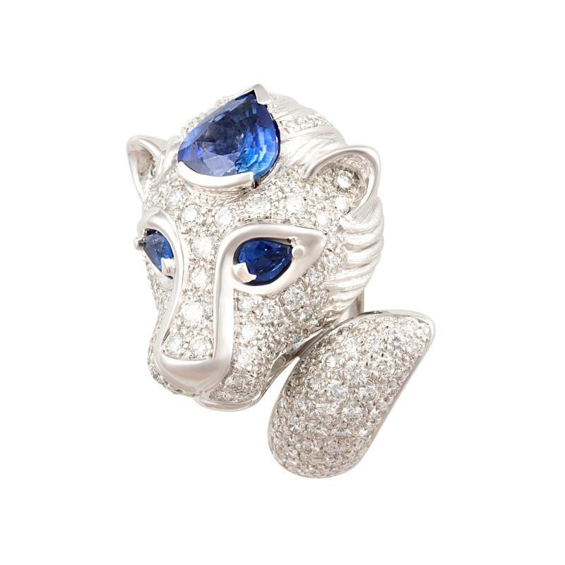 Ella Gafter Ella Gafter Zodiac Leo Ring with Blue Sapphire and Diamonds