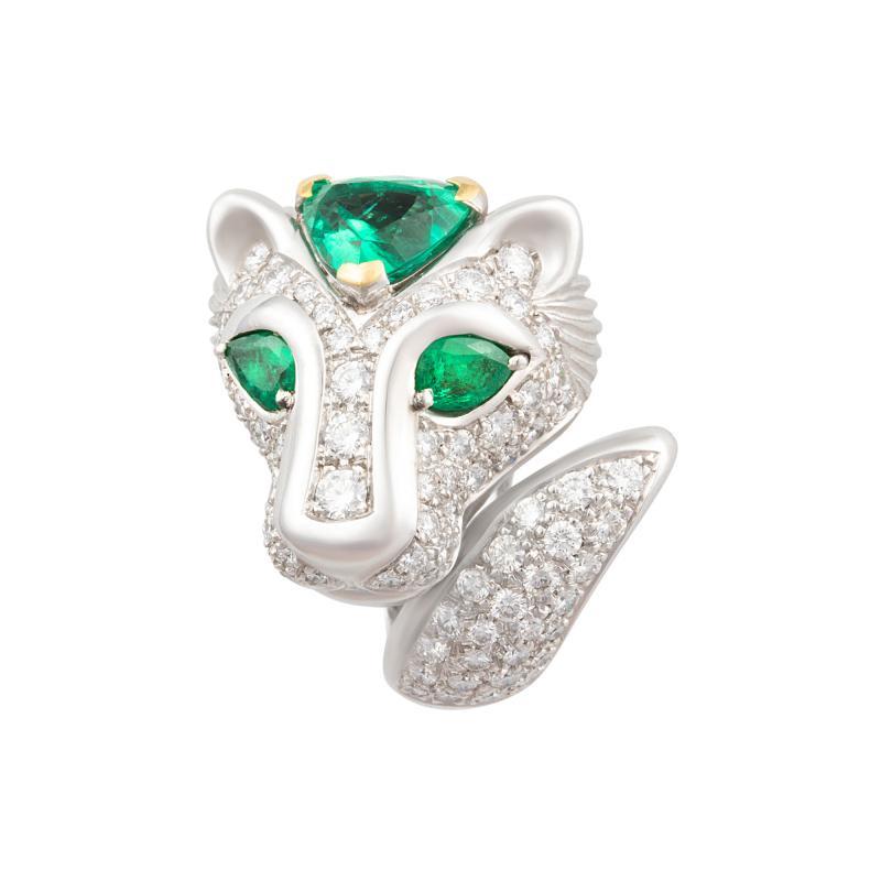 Ella Gafter Ella Gafter Zodiac Leo Ring with Emerald and Diamonds