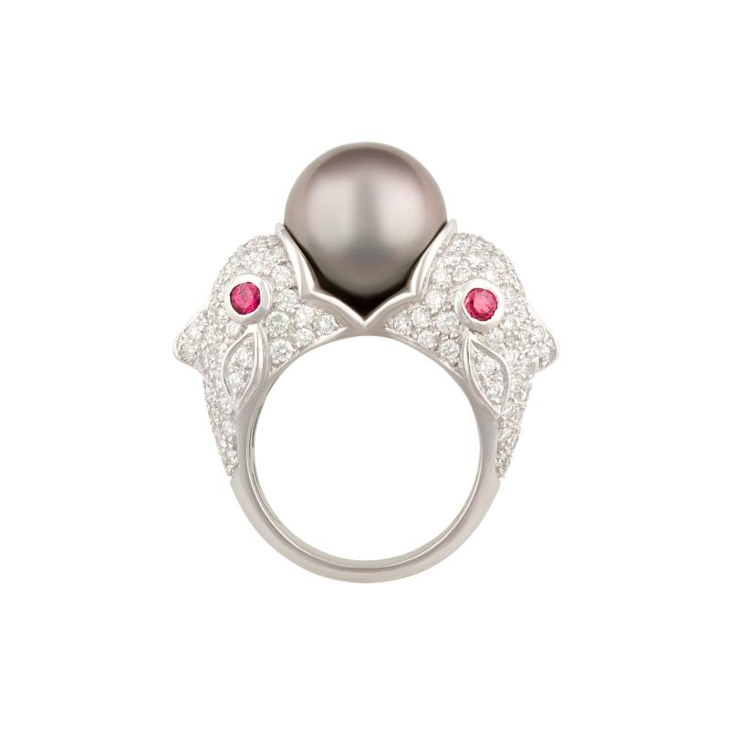 Ella Gafter Ella Gafter Zodiac Pisces Ring with Tahitian Pearl and Diamonds