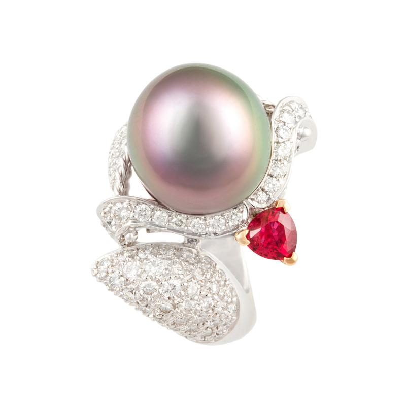 Ella Gafter Ella Gafter Zodiac Sagittarius Ring with Tahitian Pearl and Diamonds