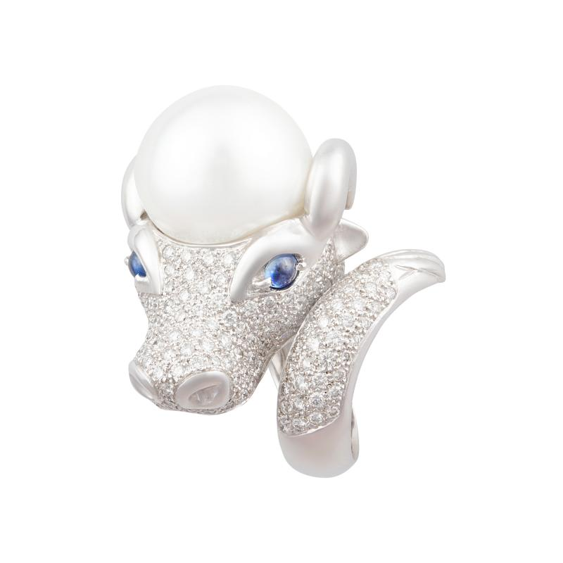 Ella Gafter Ella Gafter Zodiac Taurus Ring with Diamonds and Pearl