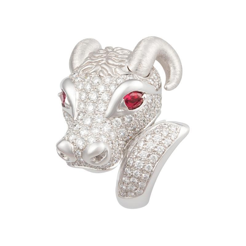 Ella Gafter Ella Gafter Zodiac Taurus Ring with Diamonds and Ruby