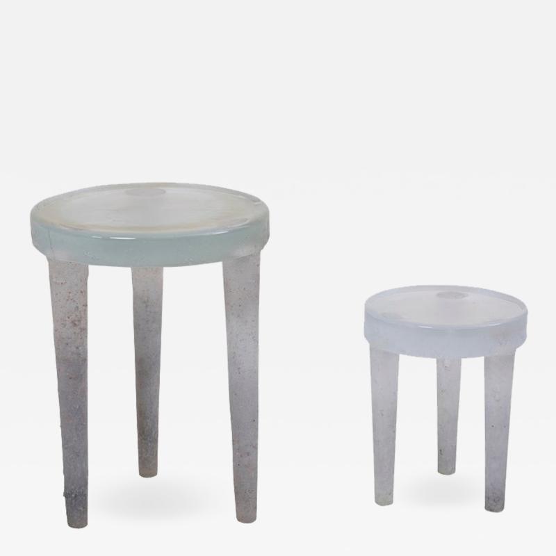 Ellen Felixon Pair of Prototype Glass Side Tables by Ellen Felixon