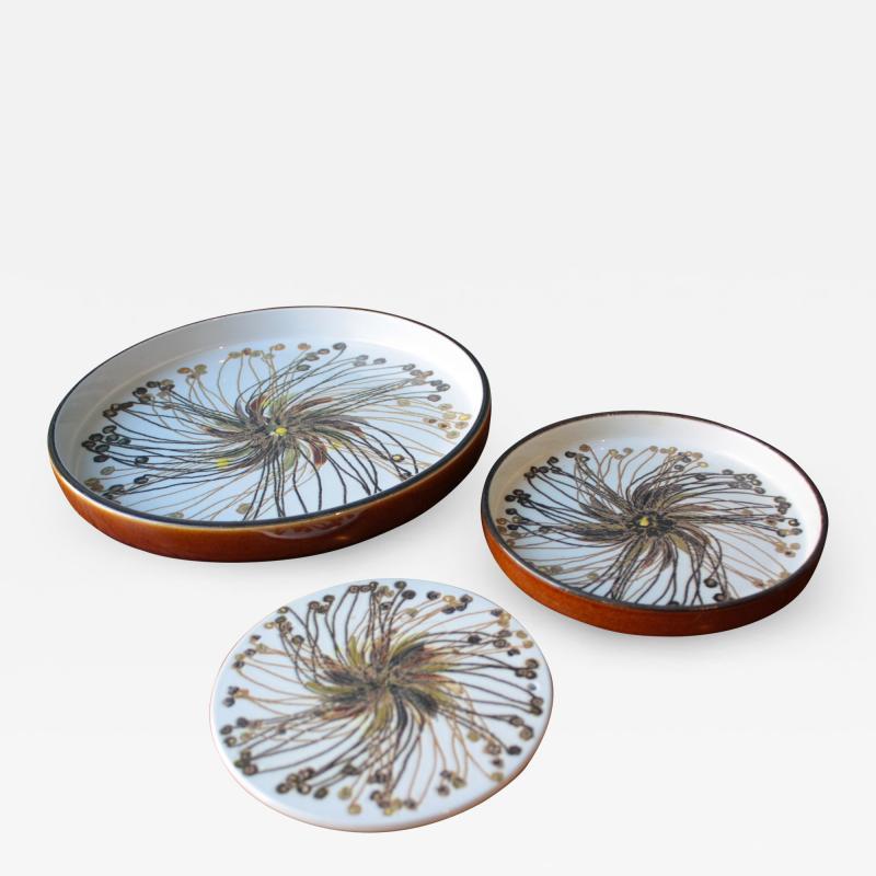 Ellen Malmer Vintage BACA Fajence Plates by Ellen Malmer for Royal Copenhagen Set of Three