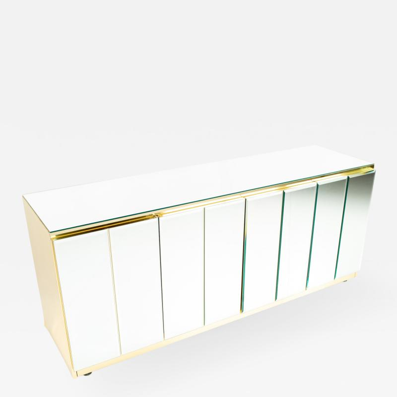 Ello Mid Century Brass and Glass Sideboard Buffet Credenza