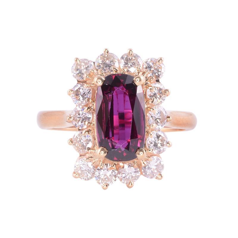 Elongated Oval Ruby Diamond 14KY Ring