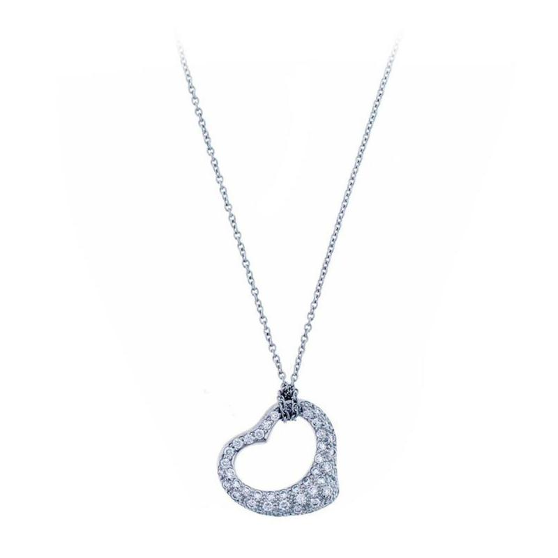 Elsa Peretti Tiffany Co Elsa Peretti Open Heart Diamond Platinum Pendant