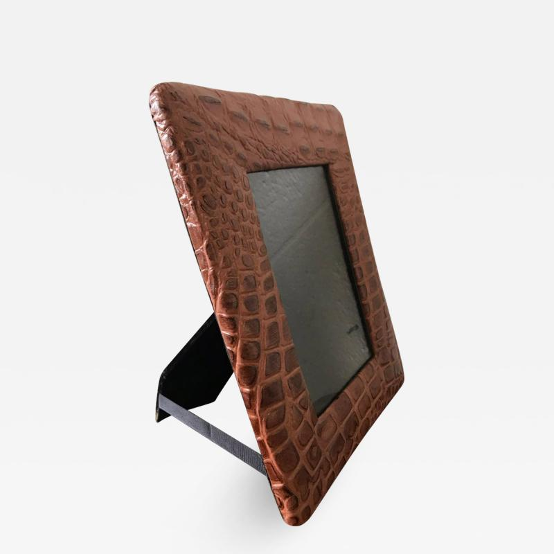Embossed Alligator or Crocodile Leather Photo or Picture Frame Pair Available