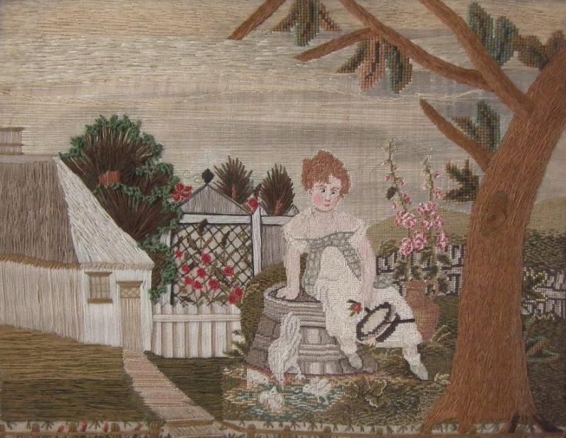 Embroidered Picture of Girl Feeding Chickens