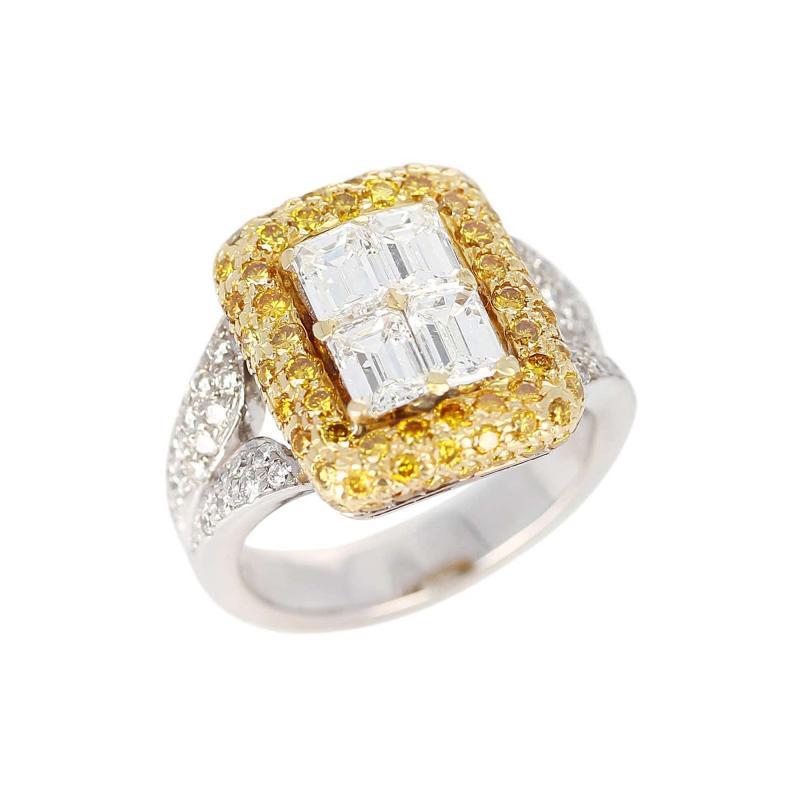 Emerald Cut Diamond Engagement Ring with Pave Yellow Diamonds and White Diamonds