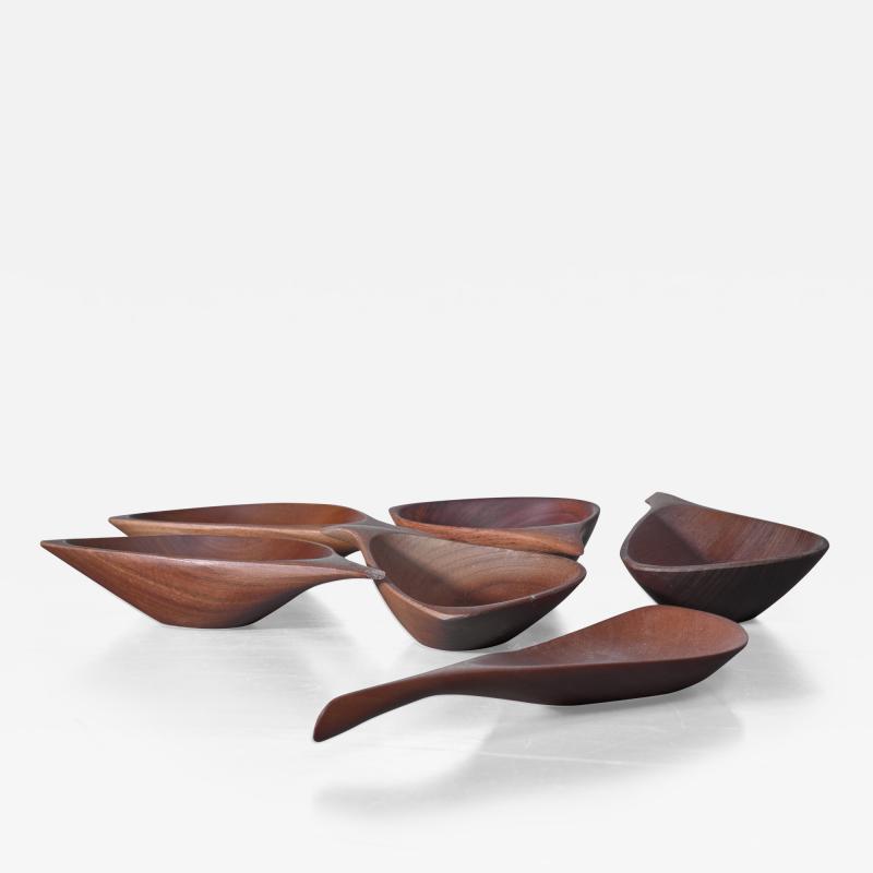 Emil Milan Emil Milan set of six carved bowls USA 1960s