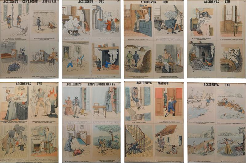 Emile Deyrolle 8 French Posters for Accident Prevention by Les Fils d Emile Deyrolle Paris