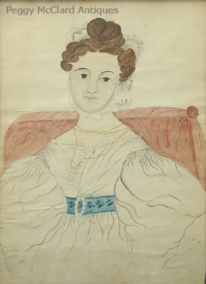 Emily Eastman Antique American Folk Art Watercolor Portrait of Lady in White by Emily Eastman