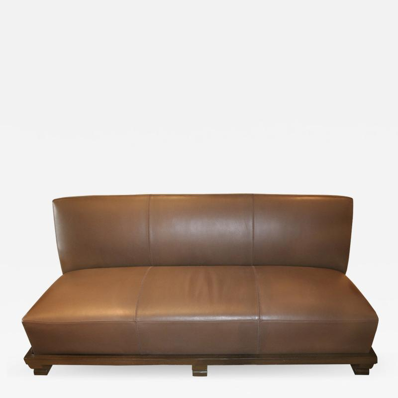 Emily Summers Studio Line Geoffrey Beene Sofa in Chocolate Top Stitch Leather