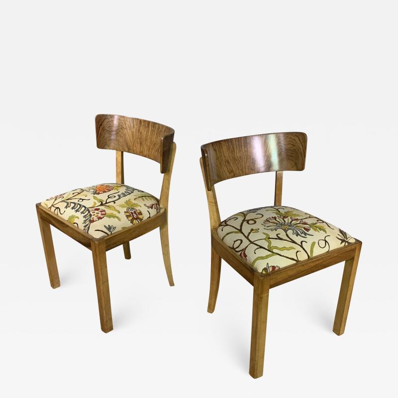 Empire Maple Rootwood Klismos Chair c1940 Crewel Fabric