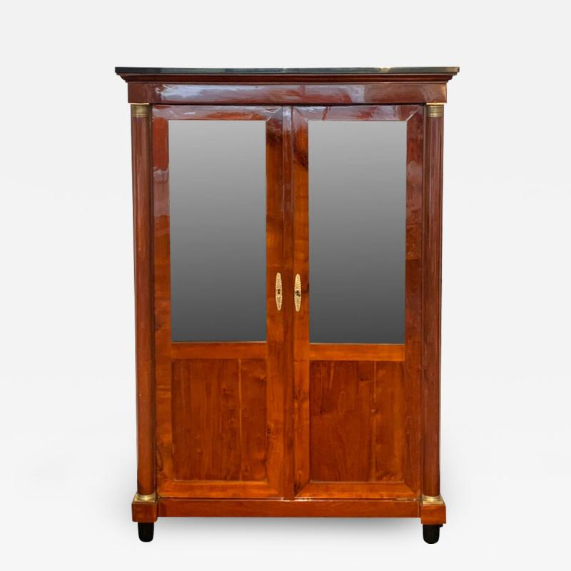 Empire Restauration Bookcase Cherry Wood Brass Fittings France circa 1810