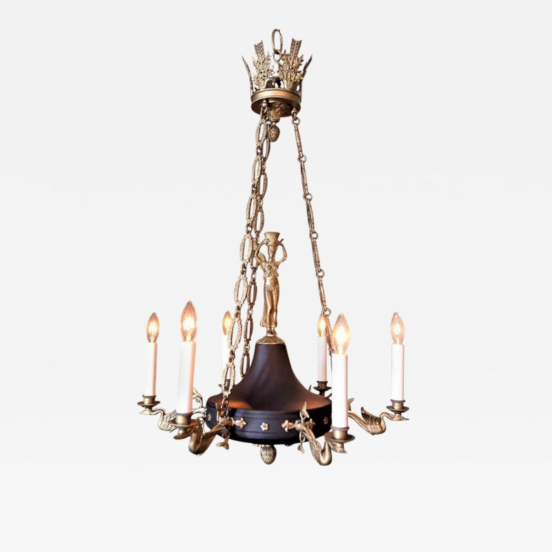 Empire Style Six Light Figural Chandelier